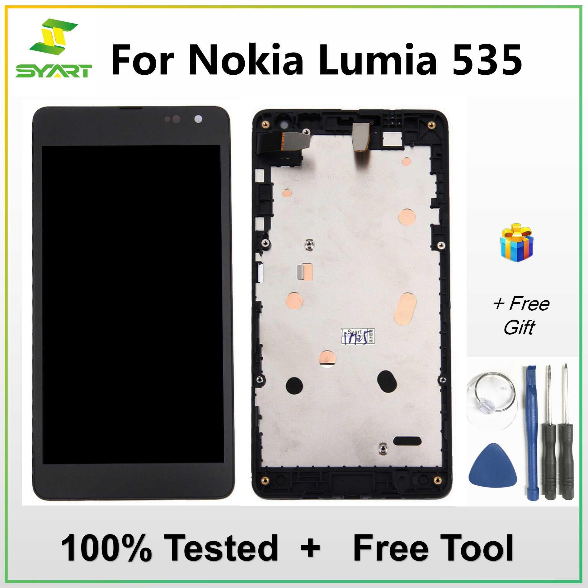 Cep telefonları ve Telekomünikasyon Ürünleri'ten Cep Telefonu LCD'leri'de Nokia Lumia 535 için lcd ekran dokunmatik ekranlı sayısallaştırıcı grup Çerçeve Yedek Parçaları Için N535 RM 1090 Sürüm 2S 2C Lcd title=