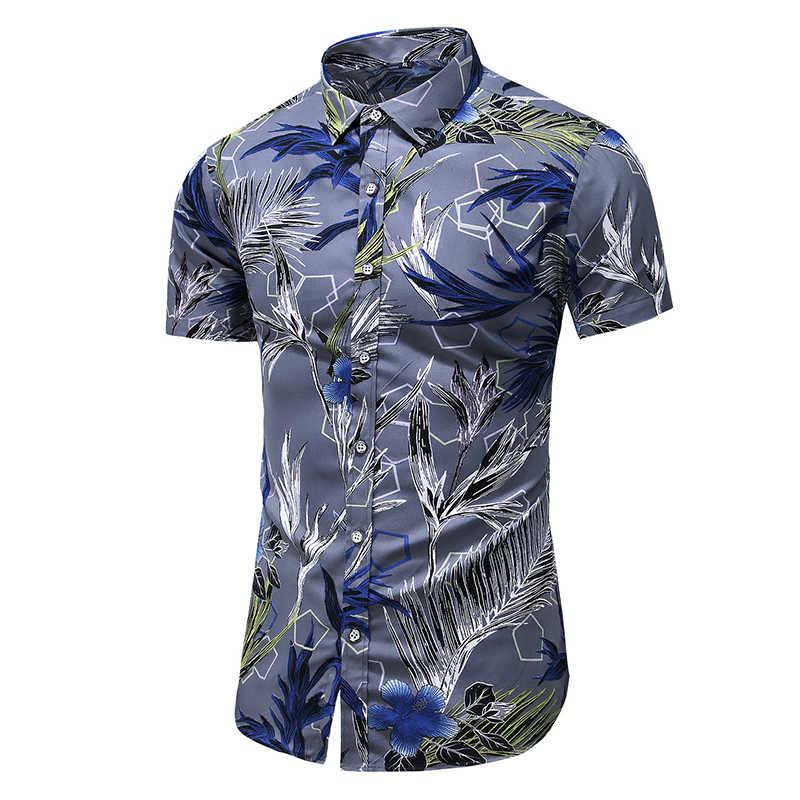2020 Mode Blume Shirt Männer Print Shirts Hawaiian Slim Fit Camisa Blumen Masculina Sommer Kurzarm Shirts Tops