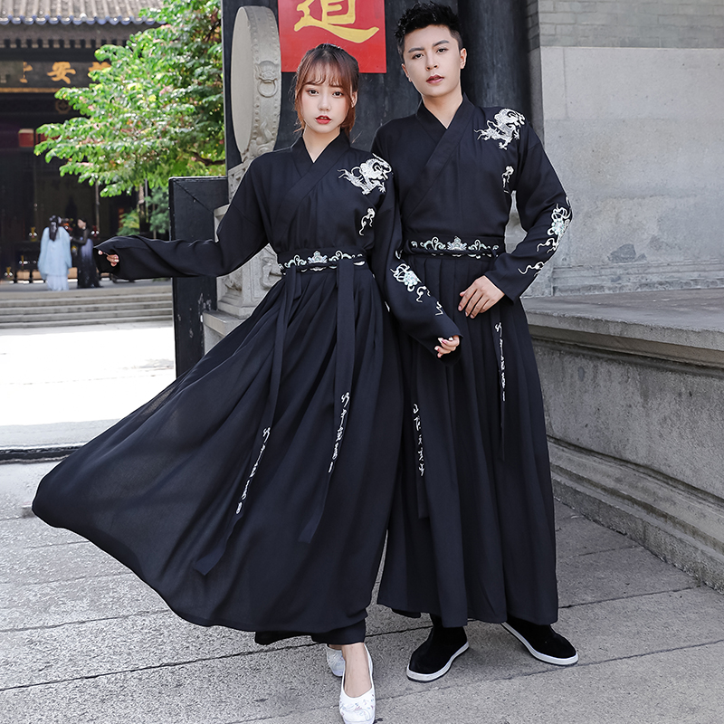 Adult Couples Black Hanfu Sets Traditional Chinese Fancy Dress Ancient Swordsman Cosplay Outfit For Men/Women Plus Size DWY2827