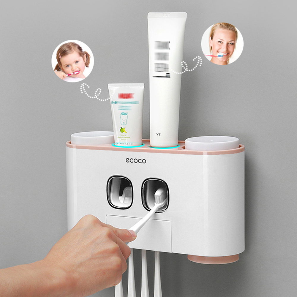 Magnetic Adsorption Inverted Automatic Toothpaste Dispenser Toothpaste Squeezer Wall Mount Toothbrush Holder With Cup image