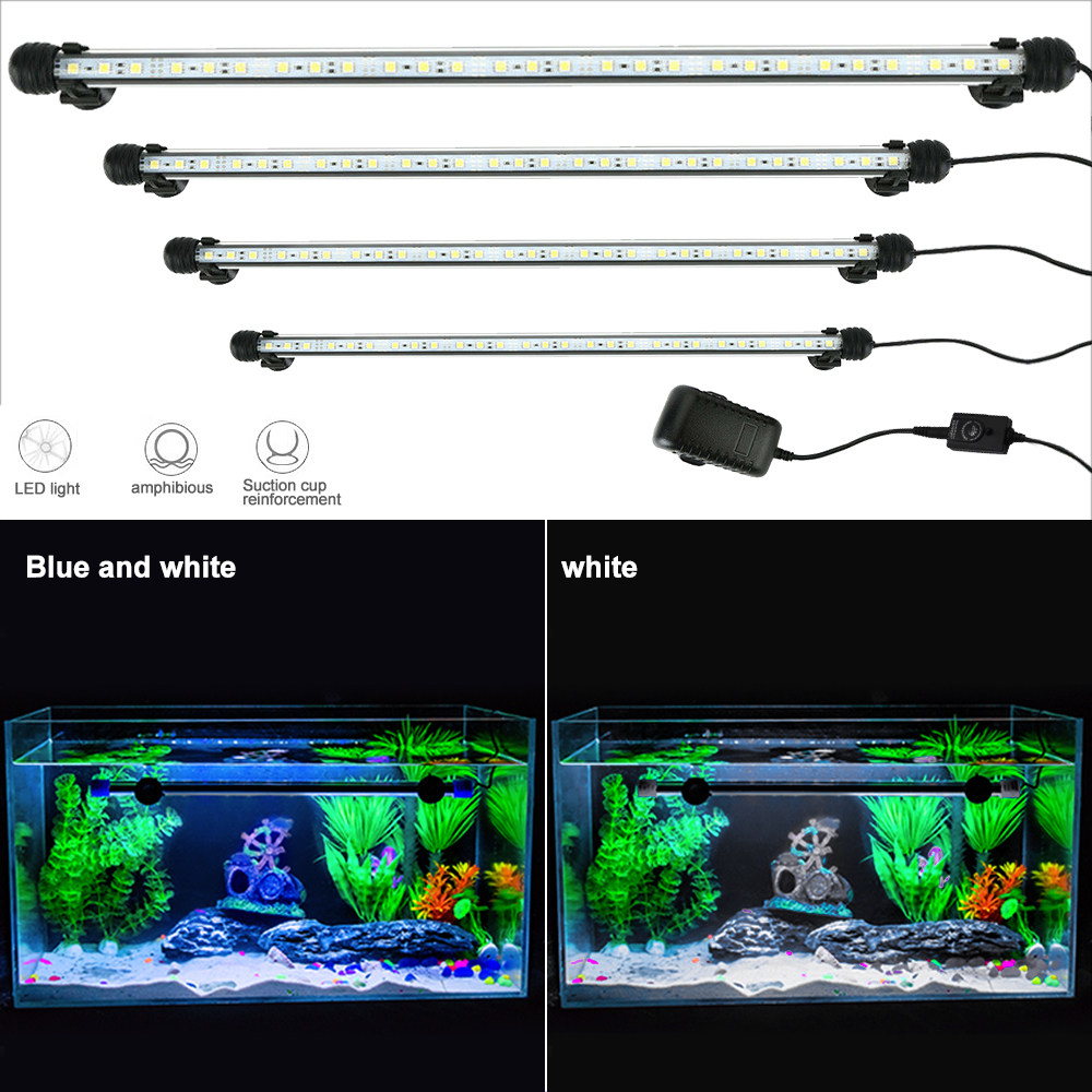 Aquarium Light LED Waterproof Fish Tank Light Underwater Fish Lamp Aquariums Decor Lighting Plant Lamp 19-49CM 220V EU Power #T