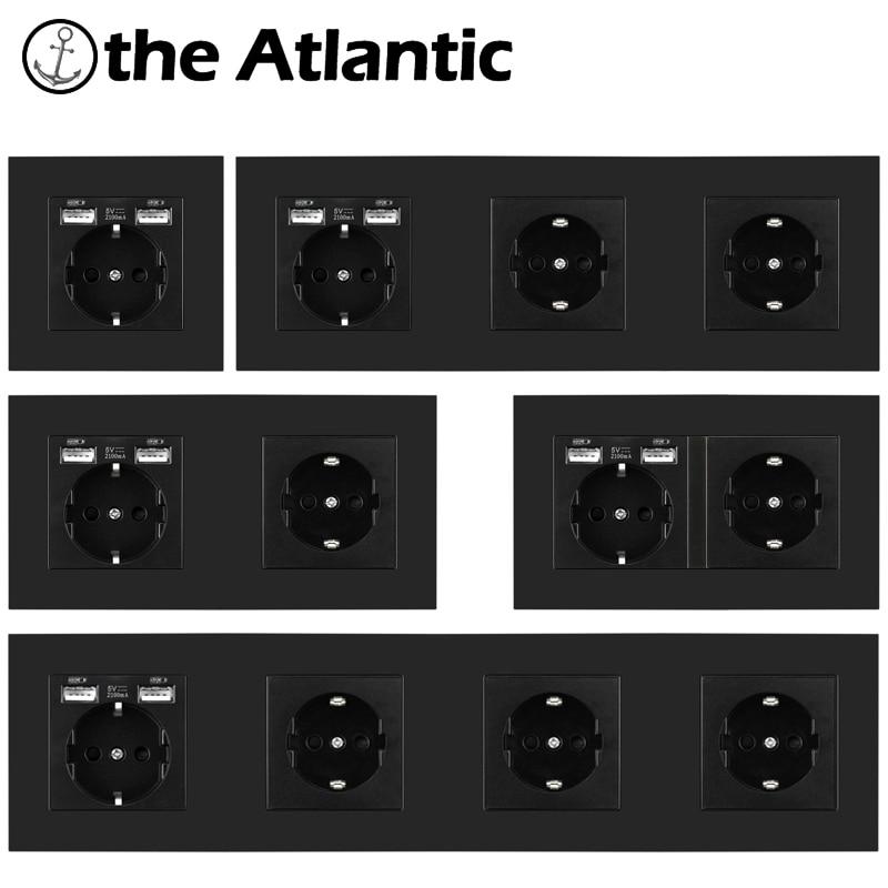 16A DE Европейская Сетевая розетка с USB Plug умный дом электрическая розетка черный Пластик Испания Россия один двойной тройной четверной 146