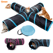 Funny Foldable collapsible cat tunnel 2/3/4/5 Holes crinkle toy with ball pet Kitten dog Puppy Rabbit play tube