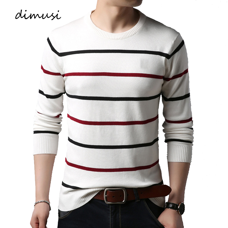 DIMUSI Autumn Winter Men Sweater Casual Striped O-Neck Shirt Turtleneck Sweaters Mens Slim Fit Knitted Pullovers Brand Clothing