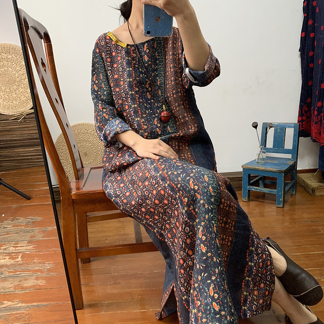 Original upscale dark flower pure ramie gown dress loose long retro linen women's dress spring and summer thin 1