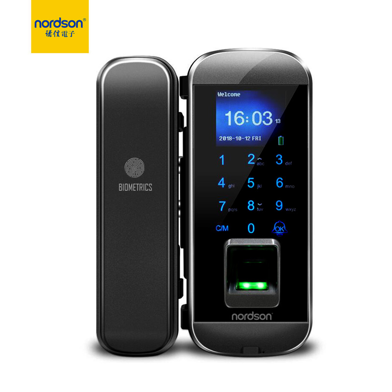 Nordson Original Smart Fignerprint RFID Glass Door Lock With Keypad 1.77 Inch Screen Battery Power Digital Lock For Home Office