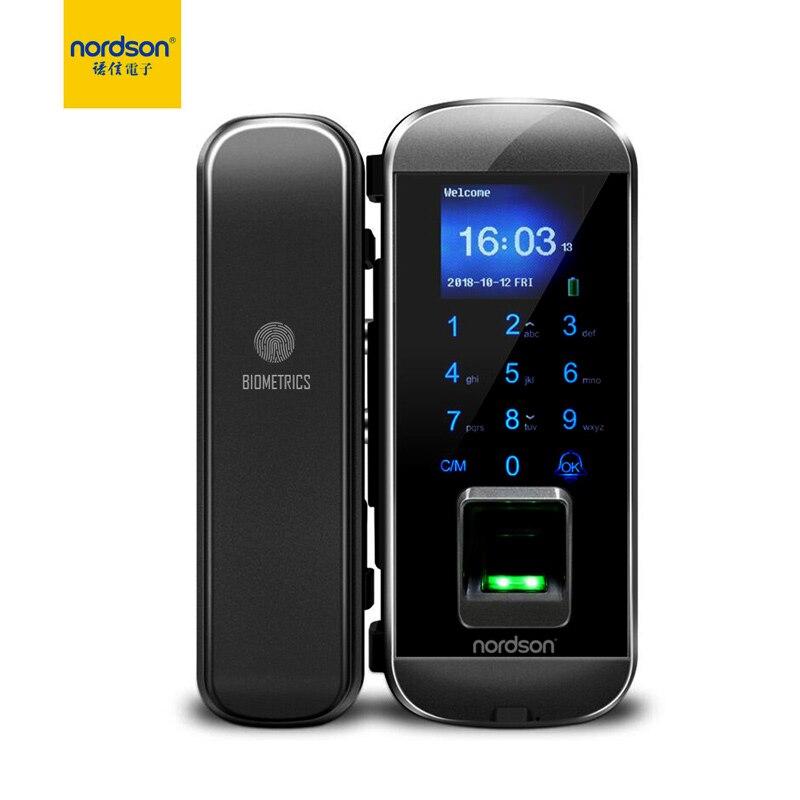 Nordson Original Smart Fignerprint RFID Glass Door Lock With Keypad 1.77 Inch Screen Battery Power Digital Lock For Home Office