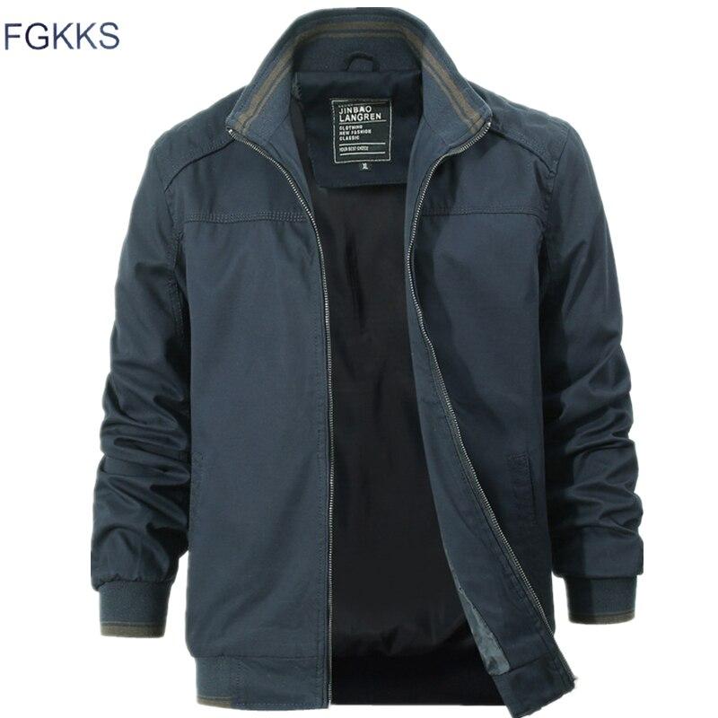 FGKKS Men High Quality Bomber Jackets Coats Autumn New Male Fashion Military Clothing Jacket Overcoat Men's Casual Jackets