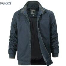 FGKKS mężczyźni wysokiej jakości kurtki pilotki płaszcze jesień nowy mężczyzna moda odzież militarna kurtka płaszcz męskie kurtki okazjonalne