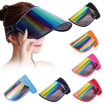 Unisex Anti Droplet Hat Iridescent Protective Mirrored Outdoor Sport Travel Anti-UV Sun Visor Hat Baffle Block Visor Shield