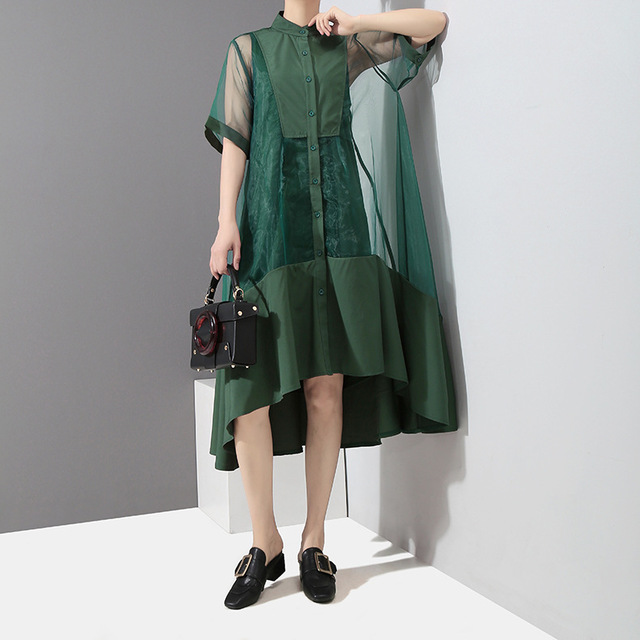 [EAM] Women Green Organza Irregular Shirt Dress New Stand Collar Half Sleeve Loose Fit Fashion Tide Spring Summer 2021 JT581 5