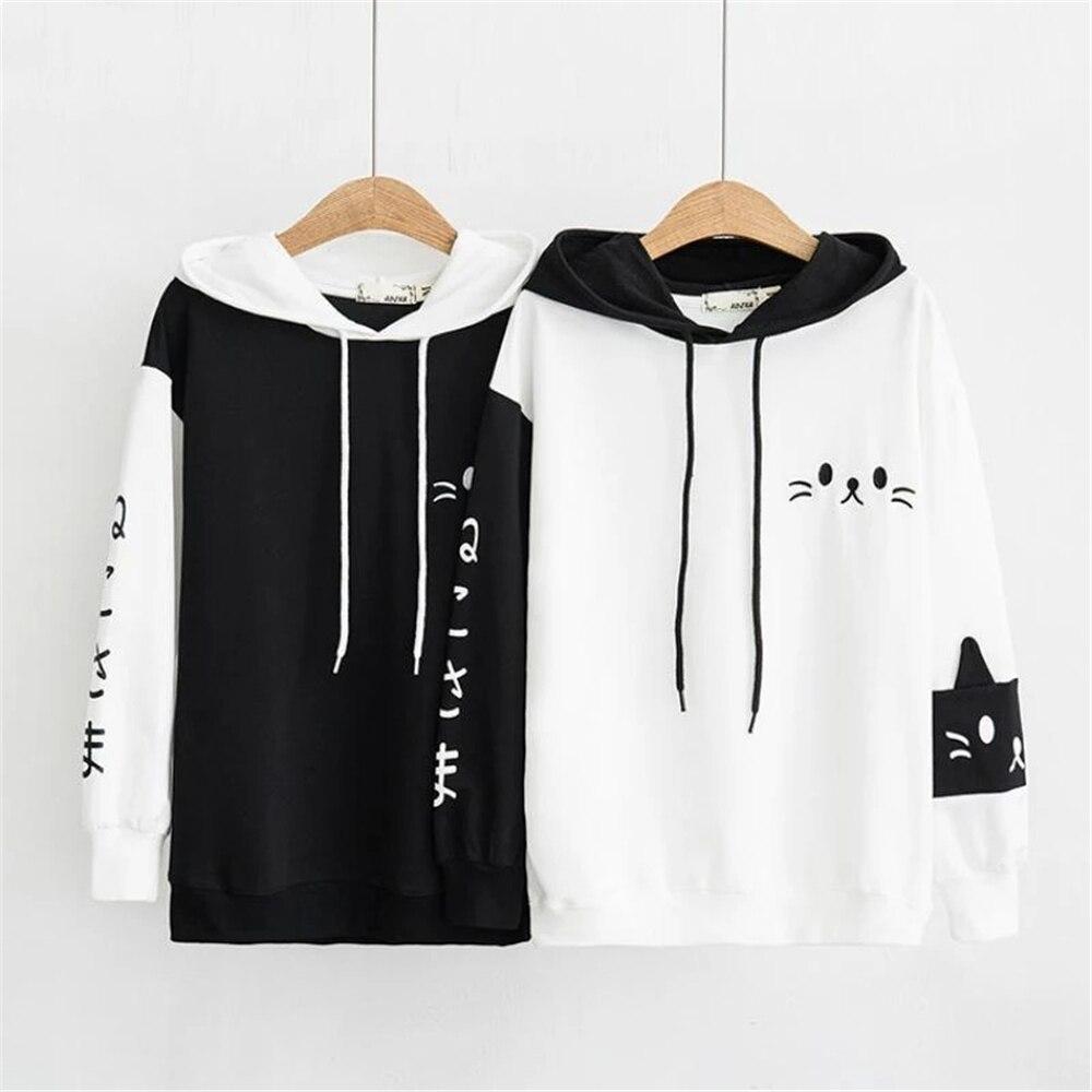Kawaii Japanese Black & White Neko Sweater 1