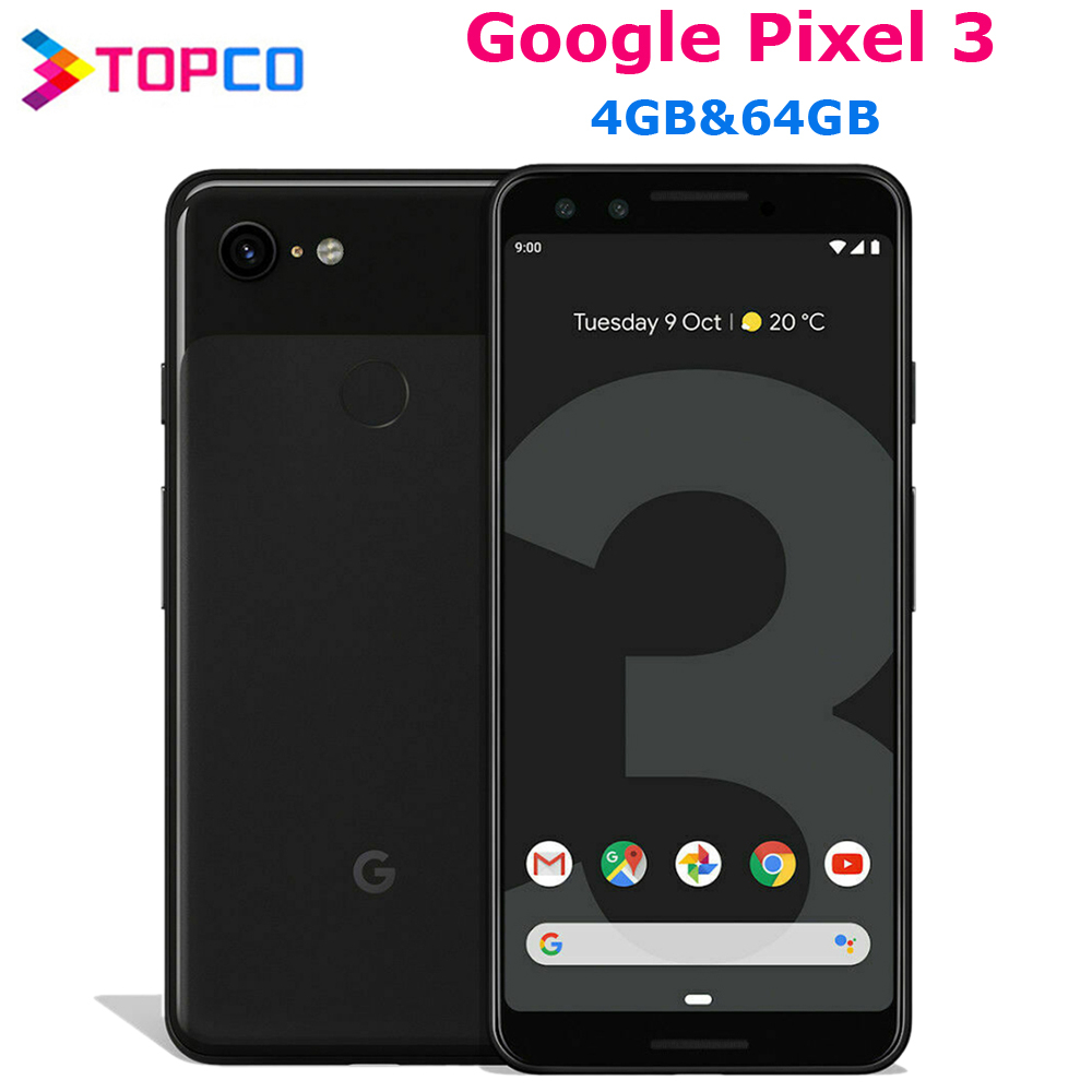 Google Pixel 3 Original Unlocked GSM 4G Android Mobile phone 5.5'' 12.2MP&Dual 8MP Octa Core Snapdragon 845 4GB&64GB AMOLED NFC(China)