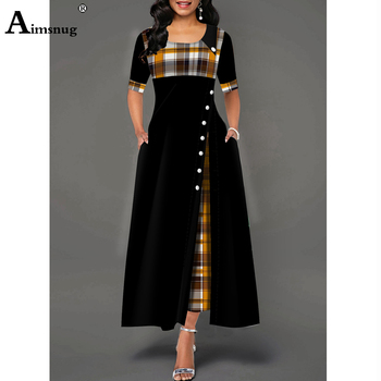 цена на Plus size 4xl 5xl Women Elegant Long Dress Patchwork Plaid Print Party Dresses Irregular Ladies Vintage Button A-Line Dress