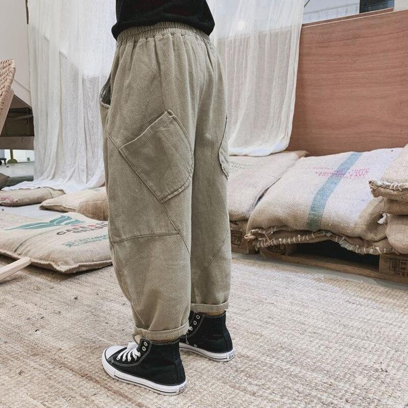 Детские повседневные брюки DFXD, новинка 2020, весенние свободные хлопковые длинные брюки с эластичным поясом и большими карманами для мальчик...