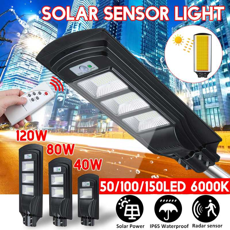 IP65 40W/80W/120W LED Garden Outdoor Lighting Wall Lamp Solar Street Light Solar Powered Radar Motion Light With Remote Control