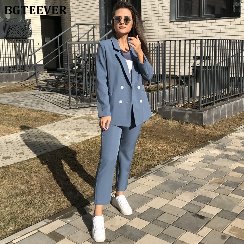 BGTEEVER Vintage Spring Double-breasted Women Pant Suit Notched Jacket & Pant 2020 Office Wear Women Suits Female Blazer Sets