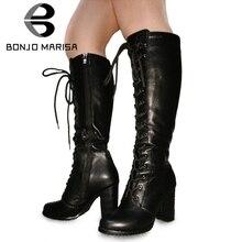BONJOMARISA גדול גודל 34 43 מגניב הברך גבוהה מגפי נשים גבוהה עקבים נעלי אישה מסיבת הנעלה גבירותיי תחרה עד רוכסן פלטפורמת מגפיים