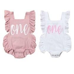 Летняя одежда для малышей, для младенцев, футболка с принтом в виде надписи для маленьких девочек без рукавов с оборками Детский костюм, ком...