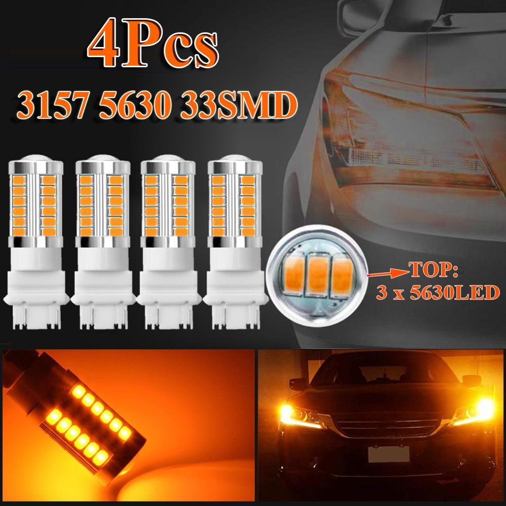 4 шт. Янтарный 3157 3457 3057 сигнальный светодиодный 33SMD Автомобильный задний поворотный тормозной светильник, запасная автомобильная лампа задн...