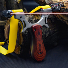 High Quality Stainless Steel Slingshot Catapult Outdoor Professional Laser Aiming Slingshots Hunting Flat Leather Sling Shot professional tc21 titanium alloy slingshot hunting slingshot catapult flat rubber bands slingshot outdoor shooting sling shot