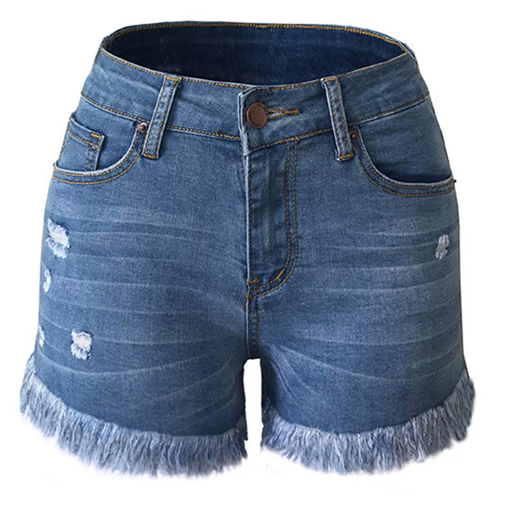 Cut Off Denim Shorts for Women Frayed Distressed Jean Short Cute Mid Rise Ripped Hot Shorts Comfy Stretchy 6