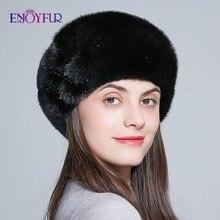 ENJOYFUR di pelliccia di visone inverno berretti per la femmina tutto nero pelliccia di visone donne cappelli di pelliccia caldo fiore Cappellini