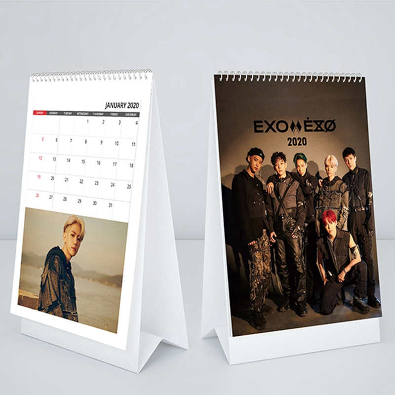 Kpop EXO 6th Album  2020 Desk Calendar K-POP EXO BAEKHYUN KAI CHEN CHANYEOL SEHUN Mini Calendar Fans Collection Gift