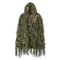 Hot HG Ghillie Suit Hunting Woodland 3D Bionic Leaf Disguise Uniform Cs Camouflage Suits Set Sniper Jungle Train Hunting Cloth