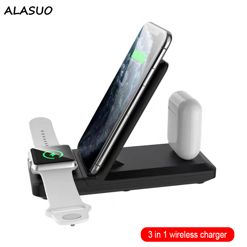 15W 3 in <font><b>1</b></font> Wireless Charger for <font><b>iPhone</b></font> 11 pro/XR/Xs Max/8 Plus Samsung Fast Charging for Apple Watch <font><b>5</b></font> 4 3 2 Airpods pro image
