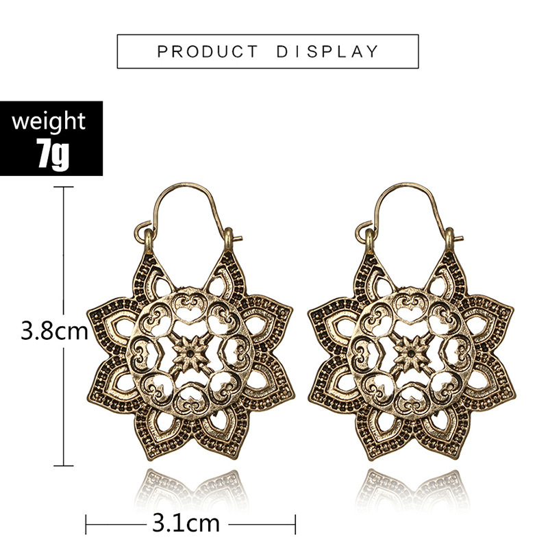 H9e92a7c9282745c88016bd70bcc76adad - HuaTang Vintage Gold Silver Color Metal Dangle Hollow Earrings for Women Geometric Carved Ethnic Earring Indian Jewellery brinco