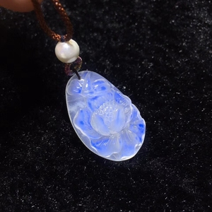 Image 3 - Top Quality Natural Blue Light Moonstone Stone Gemstone Pendant 27x17x6mm Women Party Flower Carved Gift Crystal Healing AAAAA