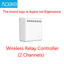 وحدة التحكم في الاتجاهين الأصلية Mijia Aqara متحكم في التتابع اللاسلكي 2 قنوات تعمل مع تطبيق Mijia ومجموعة أدوات منزلية