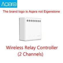Original mijia aqara two-way módulo de controle relé sem fio controlador 2 canais de trabalho para mijia app e kit casa