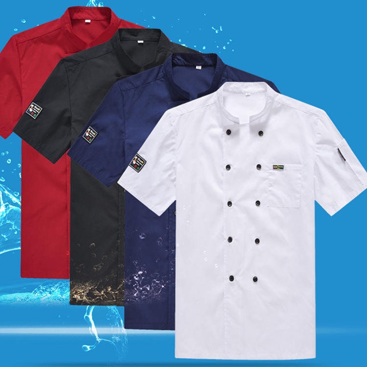 Hotel Chef Work Clothes Summer Short-sleeved Men's Catering Hotel After Kitchen Chef Taken Female Pastry Baker Workwear