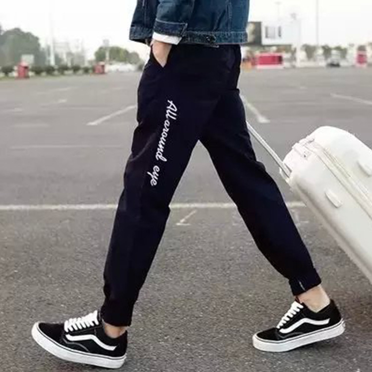 2016 Spring And Autumn Cotton Athletic Pants With Velvet Closing Trousers Men's Skinny Pant Knitted Running Sweatpants