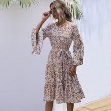 Женское платье с цветочным принтом повседневное ТРАПЕЦИЕВИДНОЕ