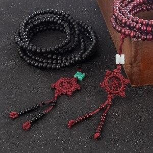 Image 4 - 2 colore Naturale Profumato Perline di legno di Sandalo Braccialetto Buddista Meditazione Branelli di Preghiera di Mala Del Braccialetto Della Mano Della Collana