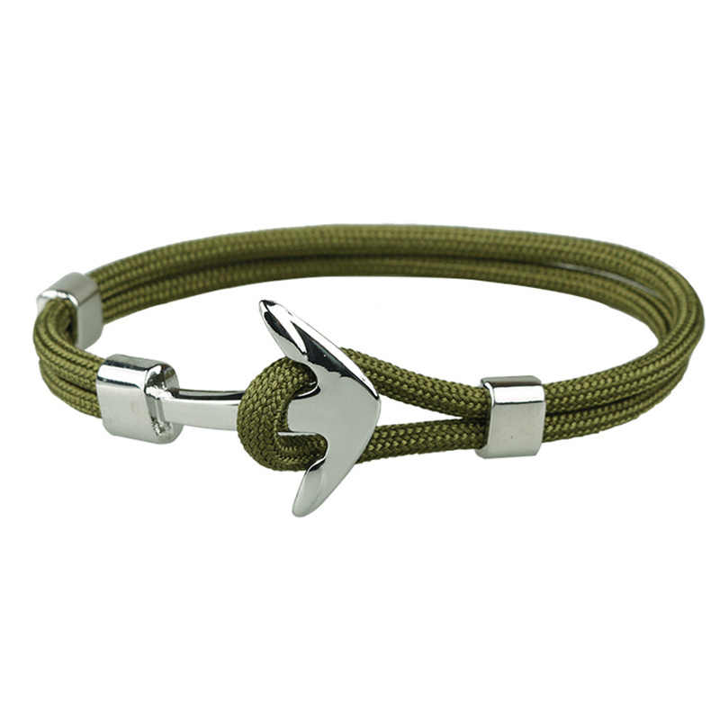 Silver ArmyGreen Anchor Bracelet Rope  Chain Necklace Bracelet for Women Men Navy Style Gifts