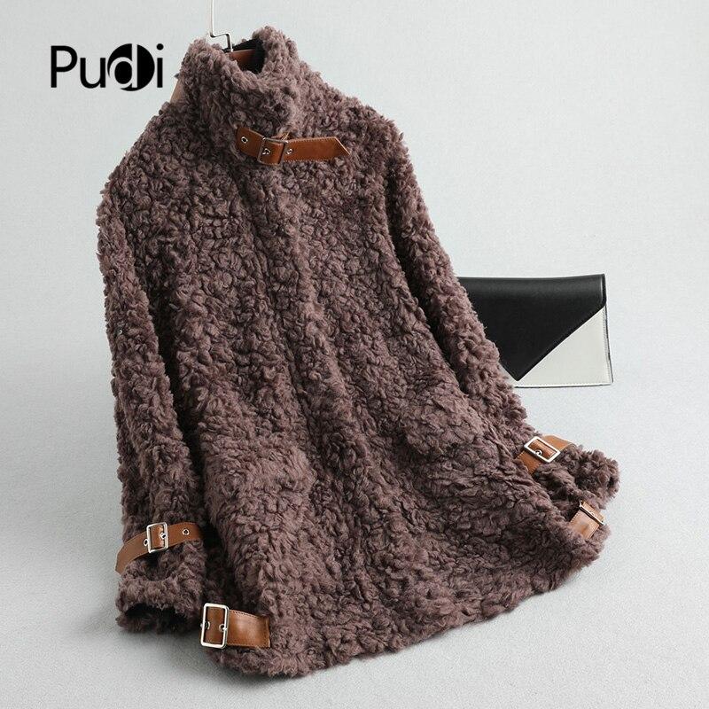 PUDI Women's Winter Warm Real Wool Fur Coat Lady Female Sheep Fur Jacket Overcoats A19097