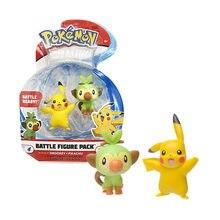 Genuine Pokemon Toys Grookey Pikachu Battle Figure Pack 2 Dolls 5cm PVC for Kids Gift
