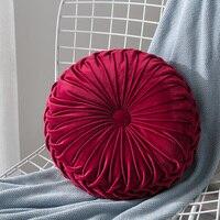 Модная Подушка бархатная плиссированная круглая подушка с изображением тыквы диванная подушка пол Декор подушки для гостиной диван одното...
