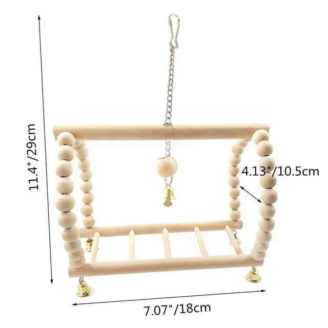 Bird Parrot Wood Hanging Bridge with Beads Bells Suspension  Swing Ladder Climbing Frame Toy Cage Balance Training 1