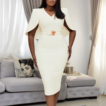 White Elegant Party Bodycon Women Dress African 2021 New Spring Summer Dinner Midi Dresses High Waist V-Neck Office Vestidos