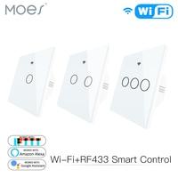 Wifi inteligente painel de vidro interruptor tuya app controle remoto trabalho com alexa eco google casa rf433 tipo ue toque branco 1/2/3 gang|Módulos de automação residencial| |  -