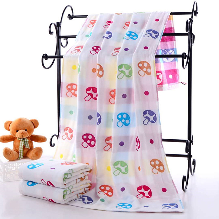 3-Layer Gauze Bath Towel Mushroom Printed Children Large Towel Pure Cotton Soft Absorbent