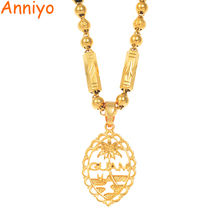 Anniyo גואם תליון חרוז שרשראות לנשים גברים זהב צבע גואם תכשיטי מתנות #166506H