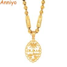 قلادة وخرز من aniyo Guam للسيدات والرجال لون ذهبي جوام مجوهرات هدايا #166506H