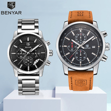 Watches Mens 2019 Reloj Hombre BENYAR Watch Set Quartz Chronograph Sport Top Brand Fashion Leather Male Clock