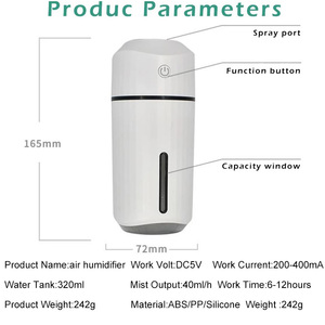 Image 5 - Car Air Humidifier Mini USB Colorful Night Light for Home Car Badroom Desktop Simple 320ML Humificador Aromaterapia Para Casa